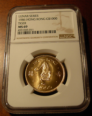 Hong Kong 1986 Gold NGC MS69 Lunar Series - Tiger