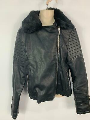 Girls Matalan Black Casual Faux Leather Zip Biker Coat Jacket Kids Age 15 Years