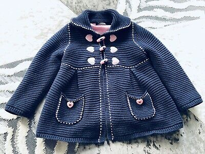George Girls Gorgeous Cardigan Knitted Full Lined Jacket Navy Pink Age 2-3 Years