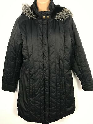 Girls Next Black Zip Up Parker Parka Coat Jacket With Fur Hood Kids 16 Years