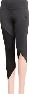 Adidas Girls Training Colorblock Tight Black Sports Leggings Gym Exercise new