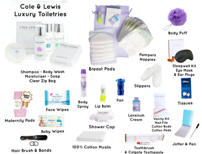 COMFORT Pre-Packed Maternity Hospital Baby Kit With LUXURY Toiletries (No Bag)