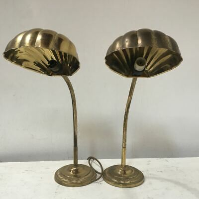 Pair of Beautiful Vintage Clam Shell Brass Gooseneck Lamps - table / desk lamp