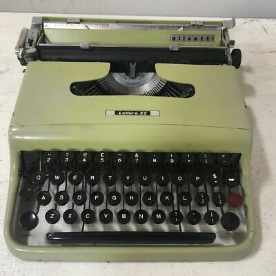 Vintage Olivetti Lettera 22 Typewriter with Case - Olive Green - Made in Italy
