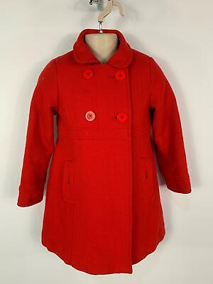 Girls Vertbaudet Bright Berry Red Winter Smart/Casual Over Coat Kids Age 5 Years
