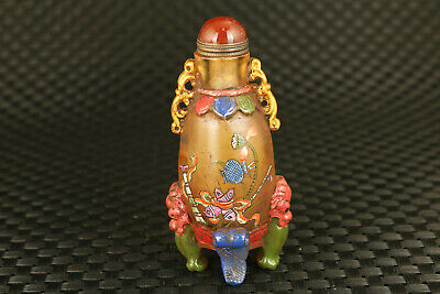 old chinese glass hand painting flower unique snuff bottle statue fine decorate