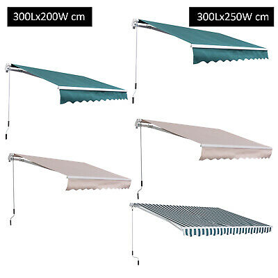 Awning Canopy Retractable Manual Outdoor Front Back Porch Sun Rain Shade Shelter