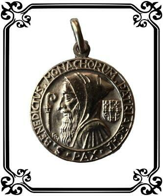 PY Saint Benedict Medal French Art Deco Bronze Pendant By Fernand Py