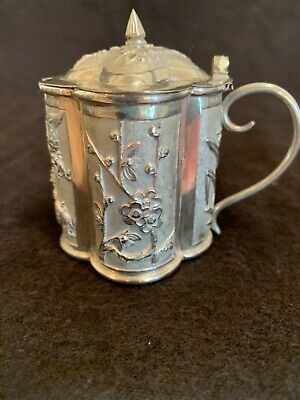 Antique Chinese export sterling silver mustard pot glass liner sgnd Kwan Ho 2.5""
