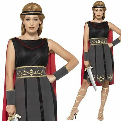 Adults Roman Warrior Costume Ladies Gladiator Fancy Dress Womens Outfit
