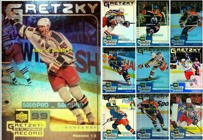 100++ UD McDONALDS 1999 WAYNE GRETZKY NHL FOR THE RECORD LOT .. U PICK FROM LIST