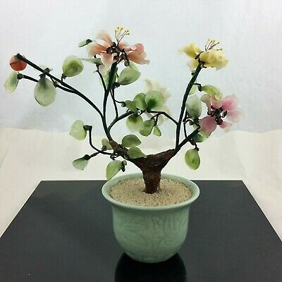 "Jadite Bonsai Tree Rose Quartz Glass Agate Asian Flowers Celadon Pot 10"" X 9"""