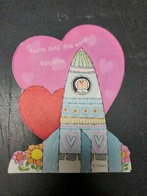 Unused vtg YOU'RE OUT OF THIS WORLD VALENTINE Card ASTRONAUT Space Rocket