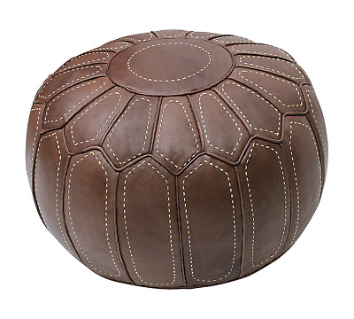 Moroccan Pouf Pouffe Ottoman Footstool COVER ONLY or STUFFED Brown Real Leather