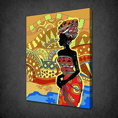 AFRICAN WOMAN PORTRAIT ORANGE CANVAS PRINT PICTURE WALL HANGING FREE UK P/&P