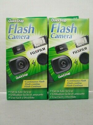 2 Fujifilm Quicksnap Flash Cameras 400 Speed 27 Exposures Exp 7/19+ Nt 7140