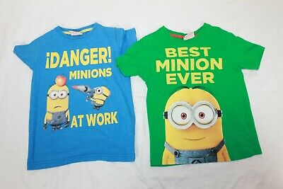 Next George Boys 2 Minion Green Blue T-shirt Tops age 3-4  4 Years