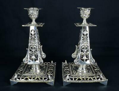 Fabulous Antique Victorian Silver Plated Candlesticks c1870 'Green Man' Faces