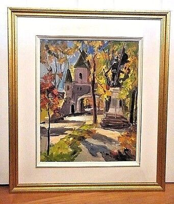Canadian, Oil On Board Painting By Artist Jean Leduc / Port St-Louis, Quebec,