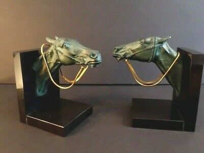Outstanding Book Ends HORSE HEADS With Golden Bridle Art Deco Max Le Verrier