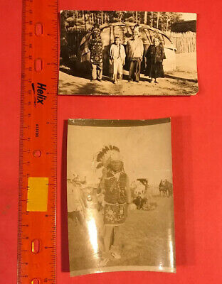 JD142 Antique Real Photo Ute Indian Headress Tribe Wigwamm