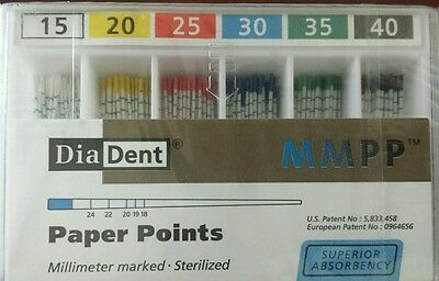Diadent Absorbent Paper Points Size 15-40 ISO Color Coded Box of 200