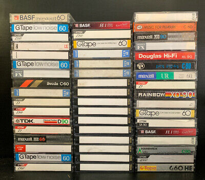 50 X Used Blank audio cassette tapes Hitachi Sony Maxwell BASF