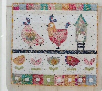 Hen House Mini Quilt - cute applique wall quilt PATTERN - Claire Turpin