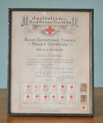 The Australian Red Cross Donation 1940s Certificate blood donor pathology bank