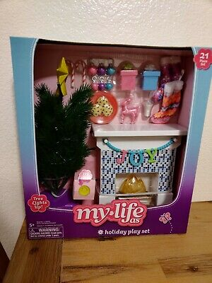 My Life As Holiday Play Set For Dolls 🎁 21 Pcs. With Light Up Christmas Tree🎄