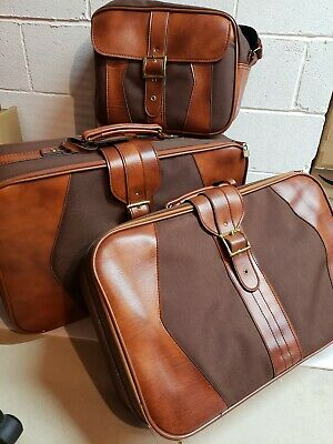 Vintage SCOVILL SUITCASE Tan Brown Rust 3 Piece Luggage