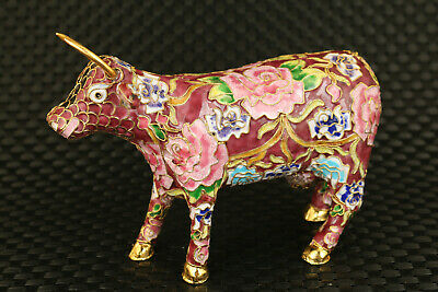 chinese royal cloisonne Hand painted ox statue table home decoration gift