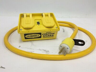 Hubbell GFP20M Portable GFCI w/ Cord 120VAC 4 Outlet Circuit Guard