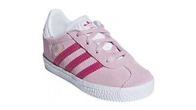 Adidas Originals Gazelle Children's Girl's Trainers Leather Shoes White/Pink new