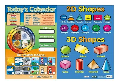 2D & 3D Shapes and Today's Calendar - 2 Posters - Chart Media - Educational