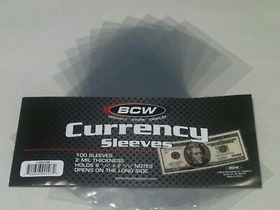 50 BCW Regular Dollar Bill Currency Sleeves-Money Holders-Protectors-Ships Free
