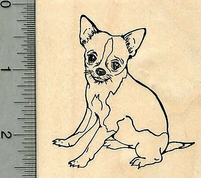 Tail wagging Chihuahua dog rubber stamp D10401 WM