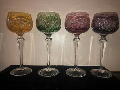 """Antique Set Of Four French Cut to Clear 8""""  Crystal Wine Glasses"""