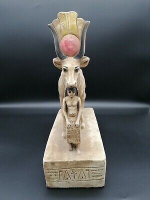 Ancient Egyptian Holy Worship Cow Taurus Apis Gold Unique Heavy Stone Made in eg