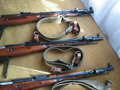 Original Soviet Mosin Nagant rifle carrying sling olive with leather straps