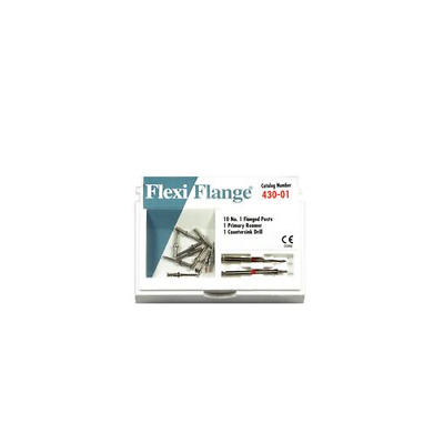 Essential Dental Systems 430-01 Flexi-Flange Stainless Steel Posts #1 Red 10/Pk