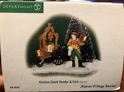 Department 56 Alpine Village Cuckoo Clock Vendor & Cart #56303 Set Of 2 Retired
