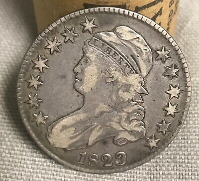 1823 patched 3 , bust Half dollar ,    VF