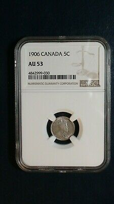 1906 Canada FIVE CENTS NGC AU53 SILVER 5C Coin PRICED TO SELL NOW!