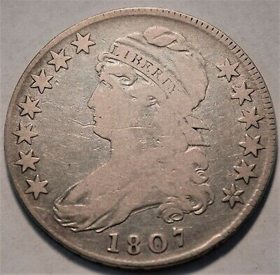 1807 Capped Bust Half Dollar, Better Date, First Capped Type Coin, Silver 50C