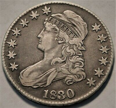 1830 Capped Bust Half Dollar, Better, Higher Grade, Type Coin, Silver 50C