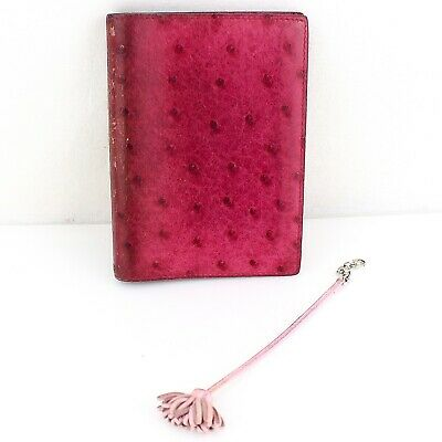 Auth HERMES AGENDA GM Cover Ostrich Leather Pink & CARMENCITA PM Page Marker Set