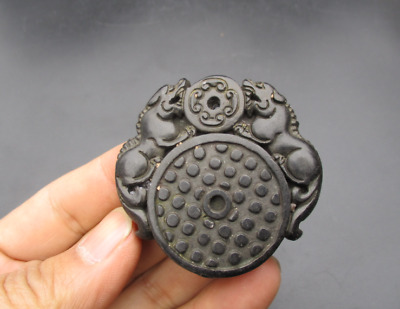 Old China Hongshan Culture Jade black magnet carved Double beast Amulet Pendant