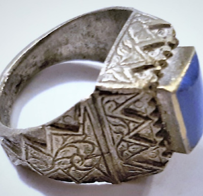Antique Sassanian Persian Lapis Lazuli Cast Silver Ring 9