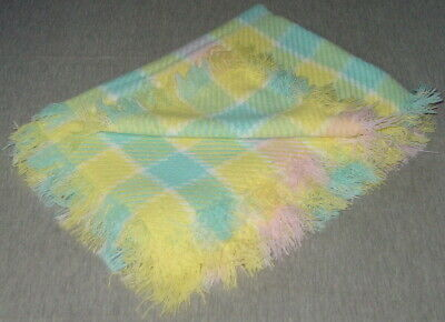"""Vintage Acrylic Pastel Plaid Baby Blanket Unbranded 46"""" x 32"""" Clean Great Shape"""